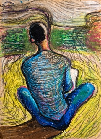 Artistic color pencil drawing of man sitting facing away.