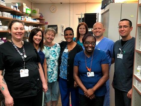 Lakeview Center Pharmacy Team pictured left to right: Amber Exum, Brenda Chavers, Lynnette Koppy, Cheryl Howard, Heather Barnes, Angela Arnold, Jeff fletcher and Matt Valdez.