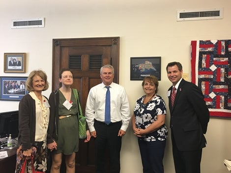 Pictured left to right: Nancy Ashmore, mother to GCE Employee of the Year; Allison Ashmore, GCE Employee of the Year; Congressman  James R. Comer, Jr., (KY-01); Lori Kain, GCE Director of Governmental/Community Relations; Jeff Read, GCE Chief Operating Officer.