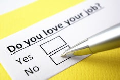 "Paper survey that reads do you love your job with a yes and no checkbox.  A pen is shown about to mark the ""no"" box."