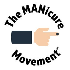 The Manicure Movement logo which is a male hand with one finger nail painted.