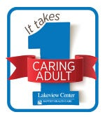 A blue and red graphic on white background that says It Takes 1 Caring Adult.