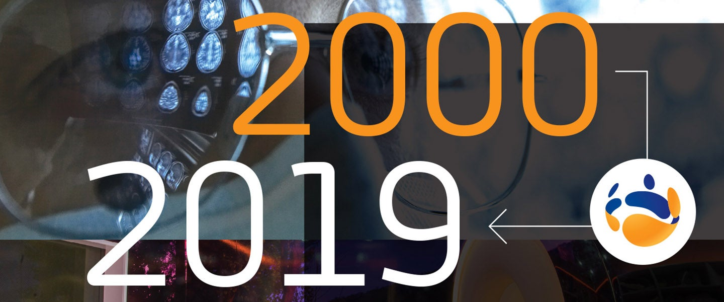 Image montage displaying 2000 and 2019 years