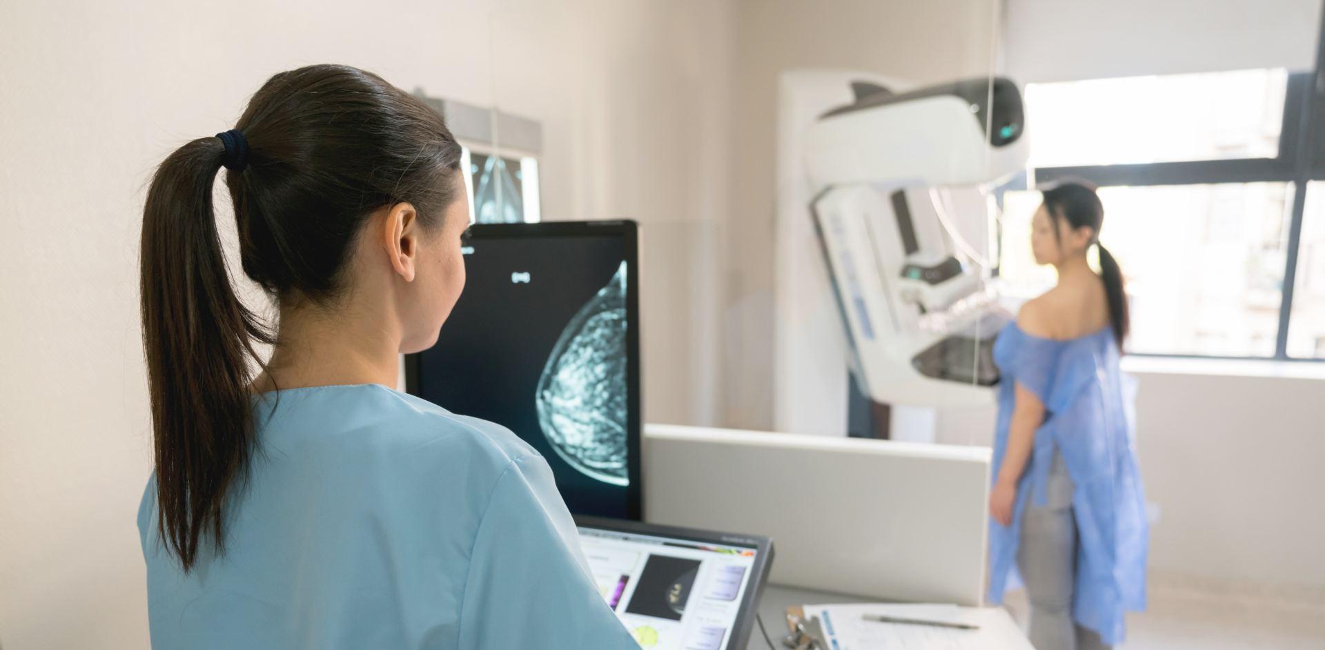Mammogram in progress
