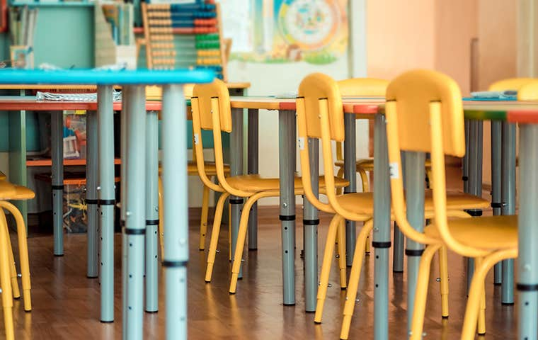 yellow chairs in a classroom