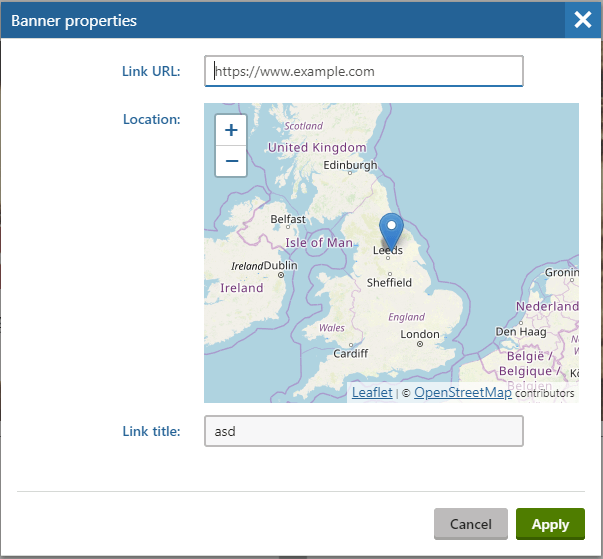 Example widget properties demonstrating the location form component.