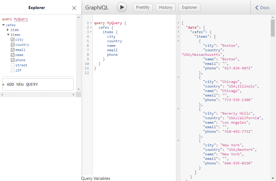 Example GraphiQL interface.