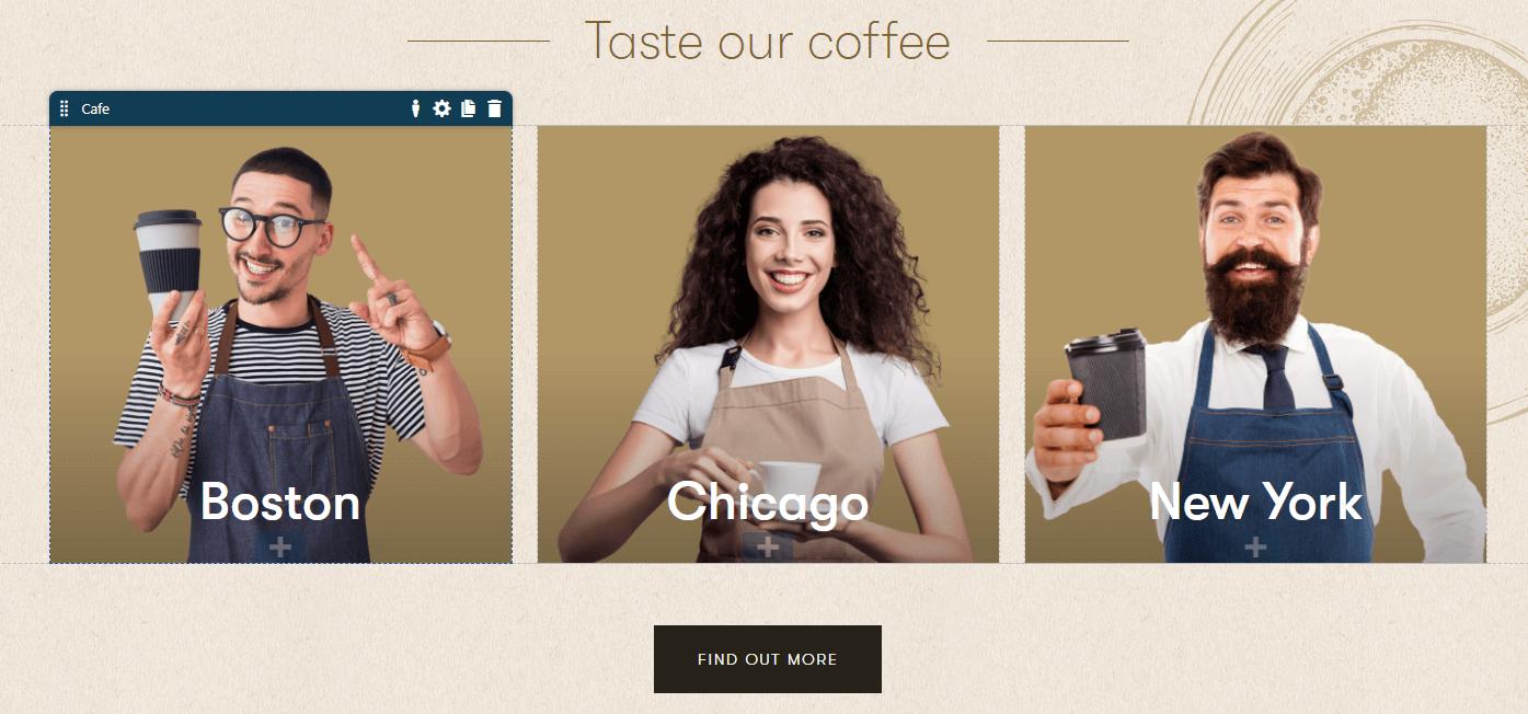 Existing Cafe widget for Dancing Goat sample website