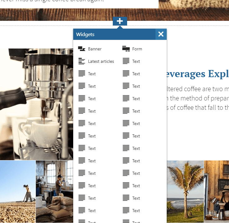 Large number of widgets in a tall two column layout, which goes off the screen.