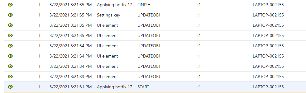 Event log showing a hotfix being applied