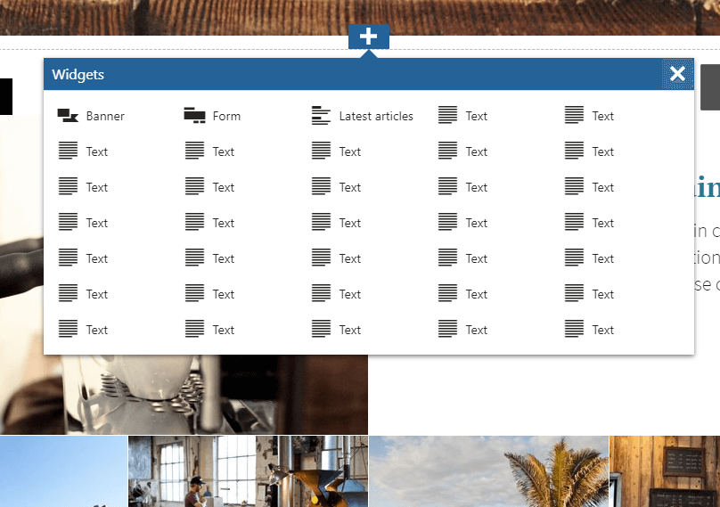 Widget selection modal, with a wider five column layout.
