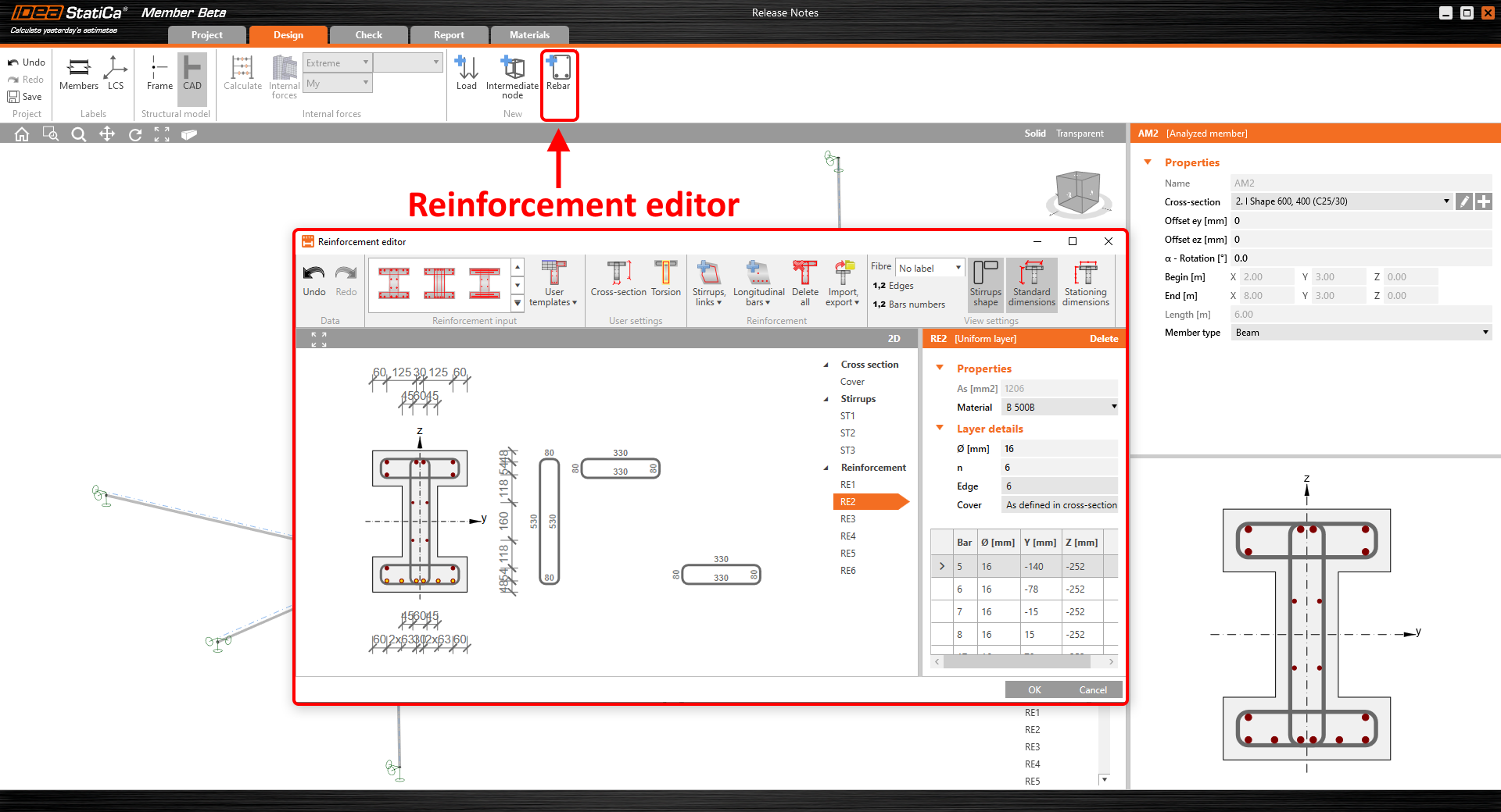 Reinforcement editor in concrete member