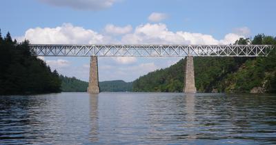 Railway bridge across Vltava river, Czech Republic