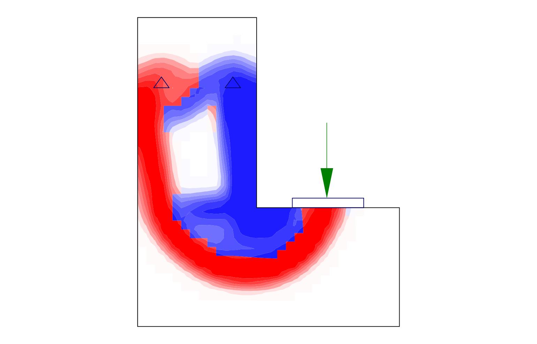 Topology optimization of a ledge L-shaped beam