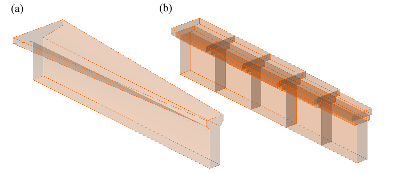 Fig. 14	Horizontal haunch: (a) user input; (b)  FE model – a haunch automatically divided into five sections.