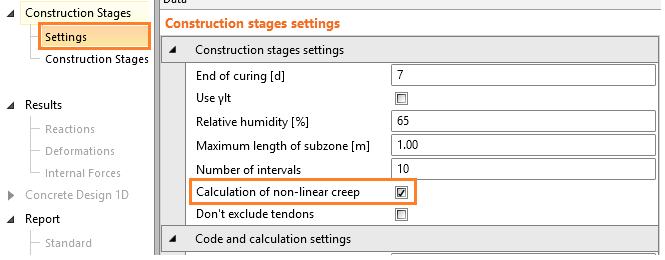 How to turn on the calculation of non-linear creep