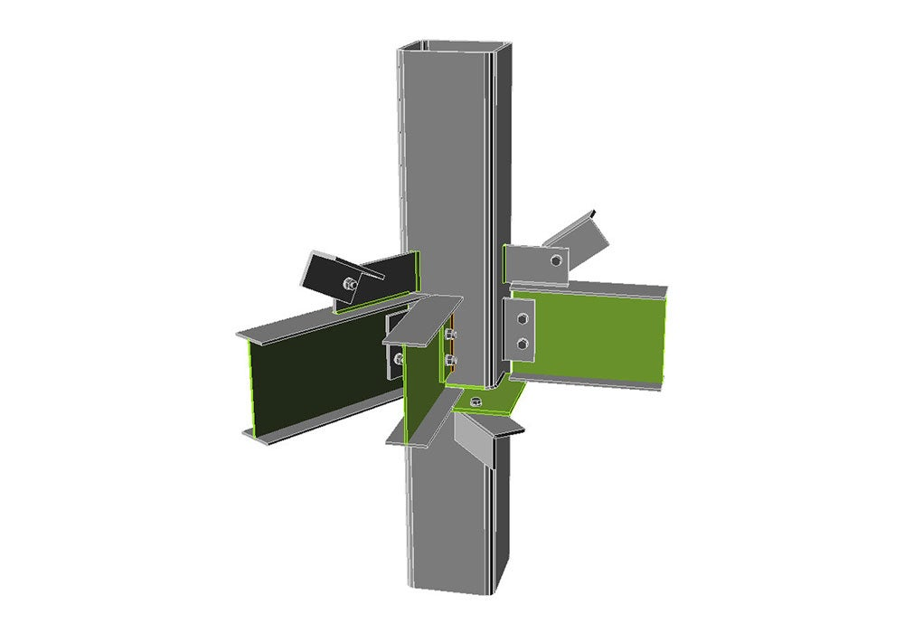 Step-by-step modelling and checking of the shaft service tower connection.