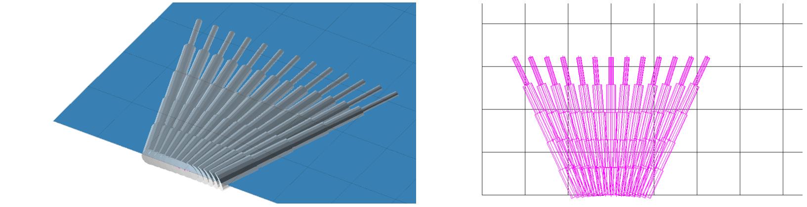 Fig. 35Fictitious struts with concrete finite element mesh.