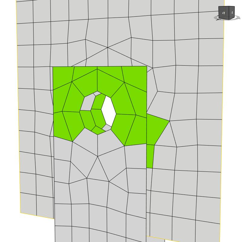 EE-net rond een gat in een plaat in IDEA StatiCa