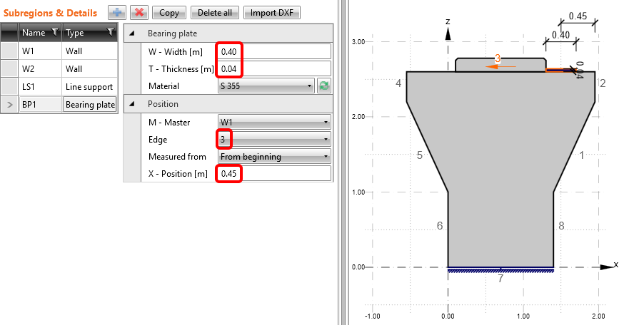 Pier cap from DXF - Position