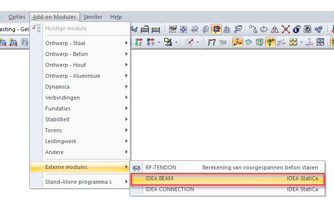 Externe module add module in RFEM for concrete member export to IDEA BEAM