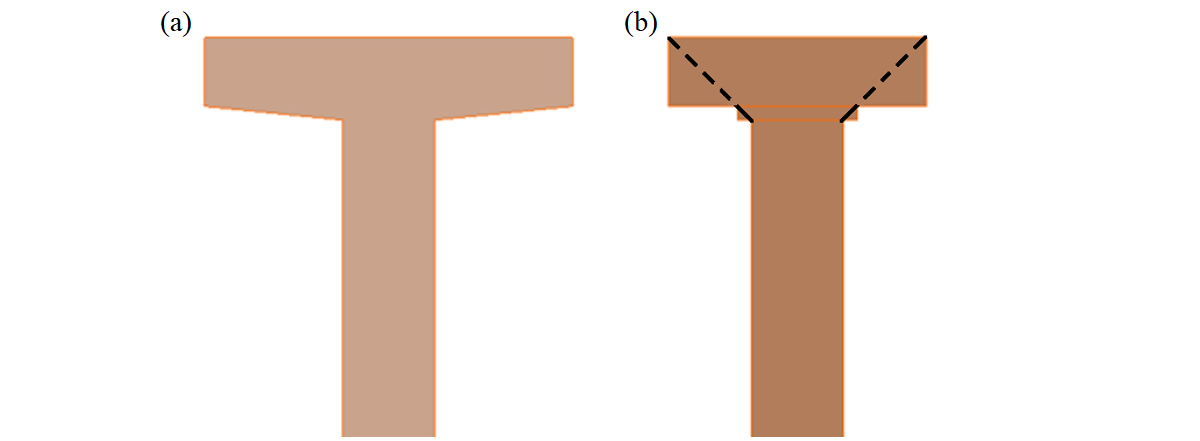 Fig. 13	   Width reduction of a cross-section: (a) user input; (b) FE model – automatically determined reduced width of a flange.