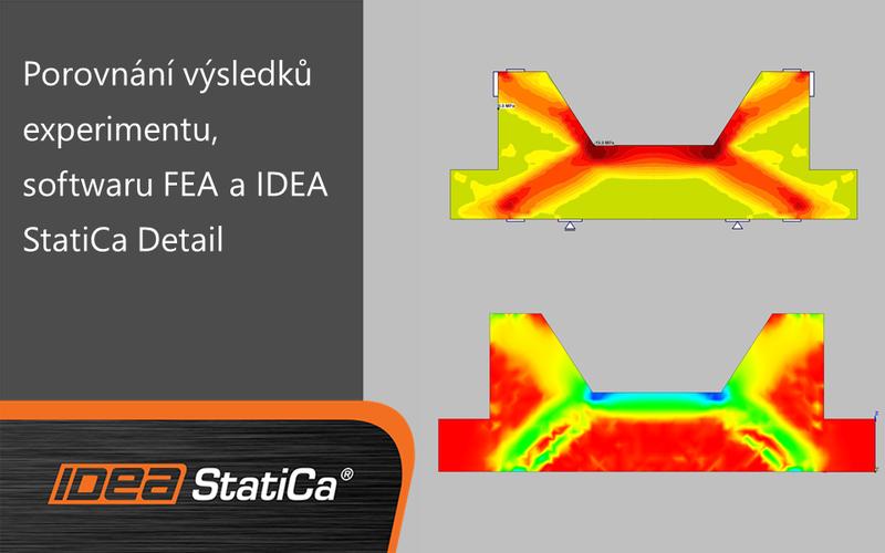 Porovnání výsledků experimentu, softwaru FEA a IDEA StatiCa