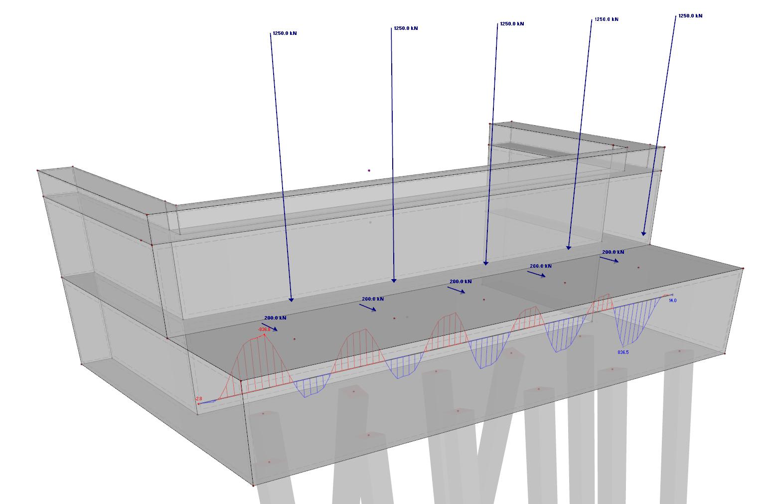 Bridgehead model in RFEm with result beam internal forces import to IDEA BEAM