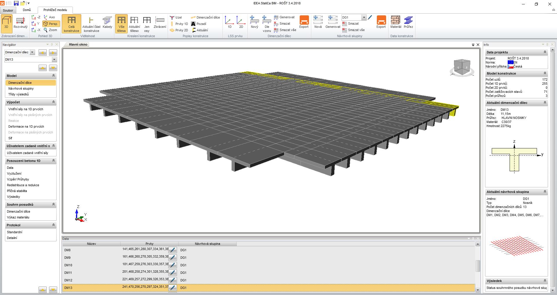 The prestressed concrete roof slab lightened by polystyrene blocks