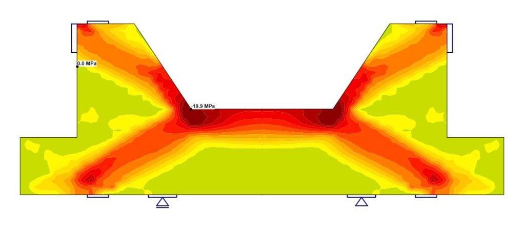 Principal stress in concrete (IDEA StatiCa Detail - CSFM)