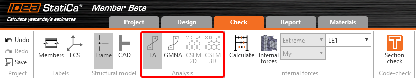 four analysis in IDEA StatiCA: linear analysis, GMNA, CSFM 2D, CSFM 3D