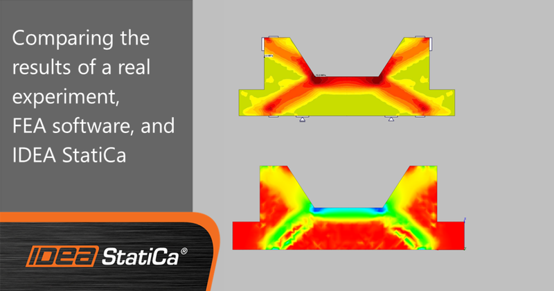 Comparing results of a real experiment, FEA software, and IDEA StatiCa
