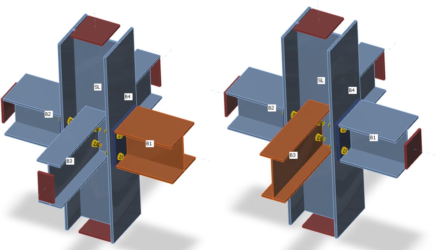 Stijfheidsberekening van de verbinding met berekende staaf in plaats van dragende staaf