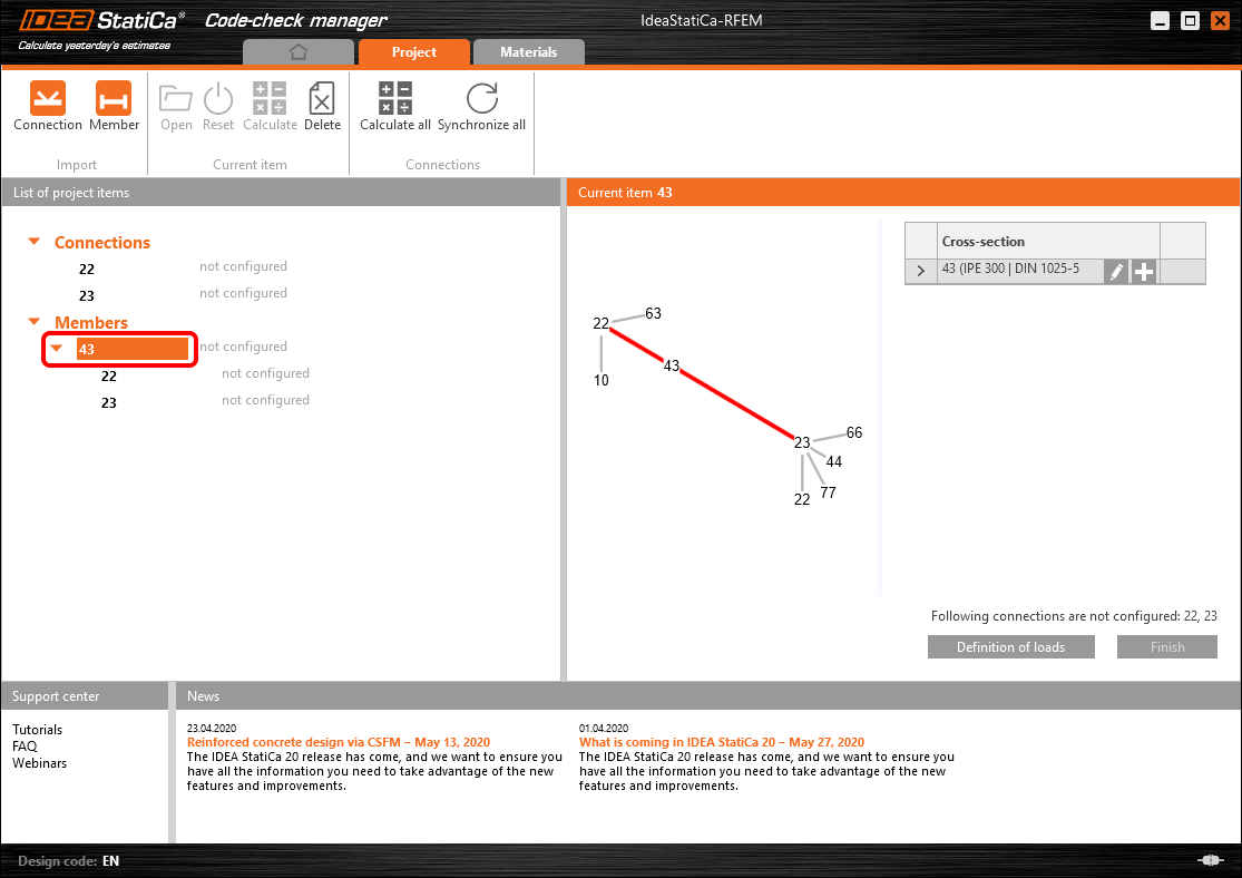 IDEA Member staaf importeren via CODE CHECK Manager