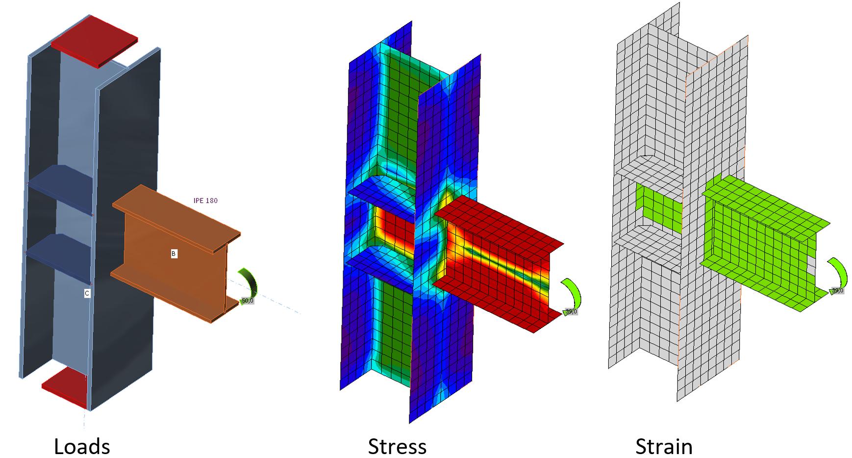 knoopbelasting, spanningsweergave in platen en rekweergave in IDEA CONNECTION