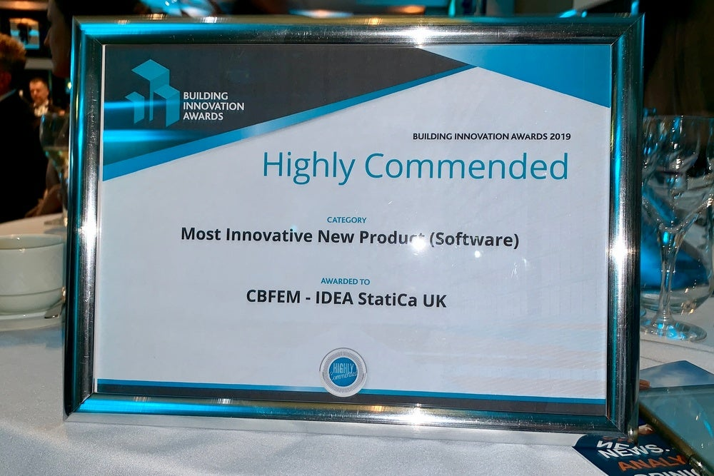 Most Innovative New Product Award 2019 for IDEA StatiCa UK