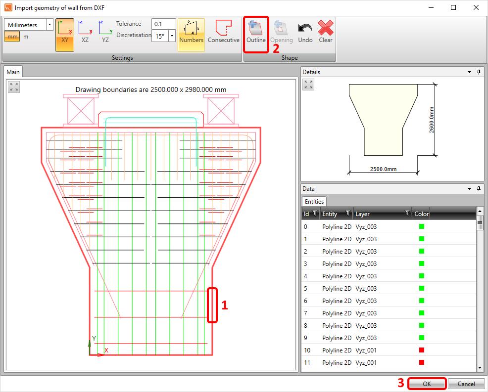 Pier cap from DXF - Geometry