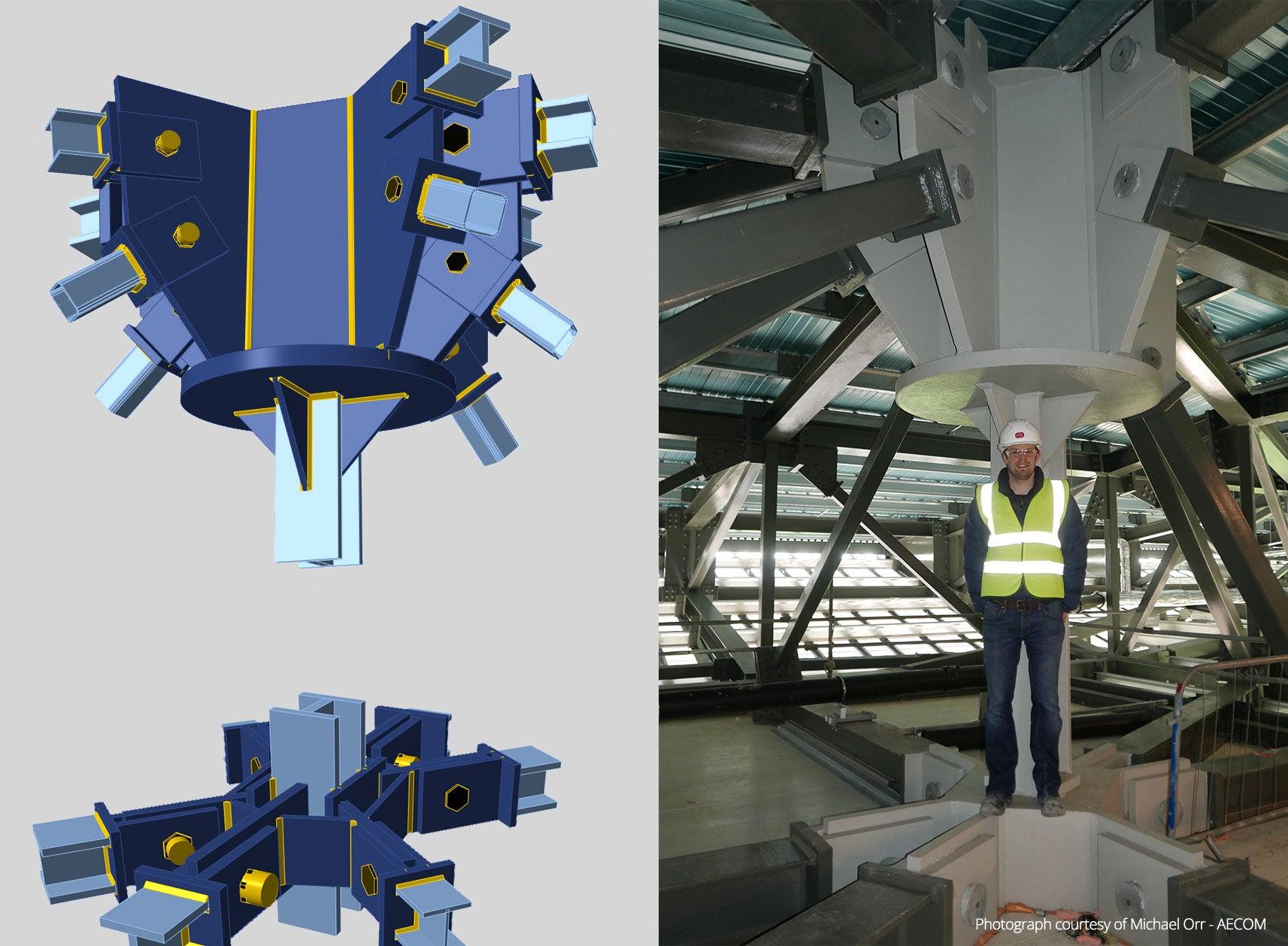 Model ocelového styčníku versus realita