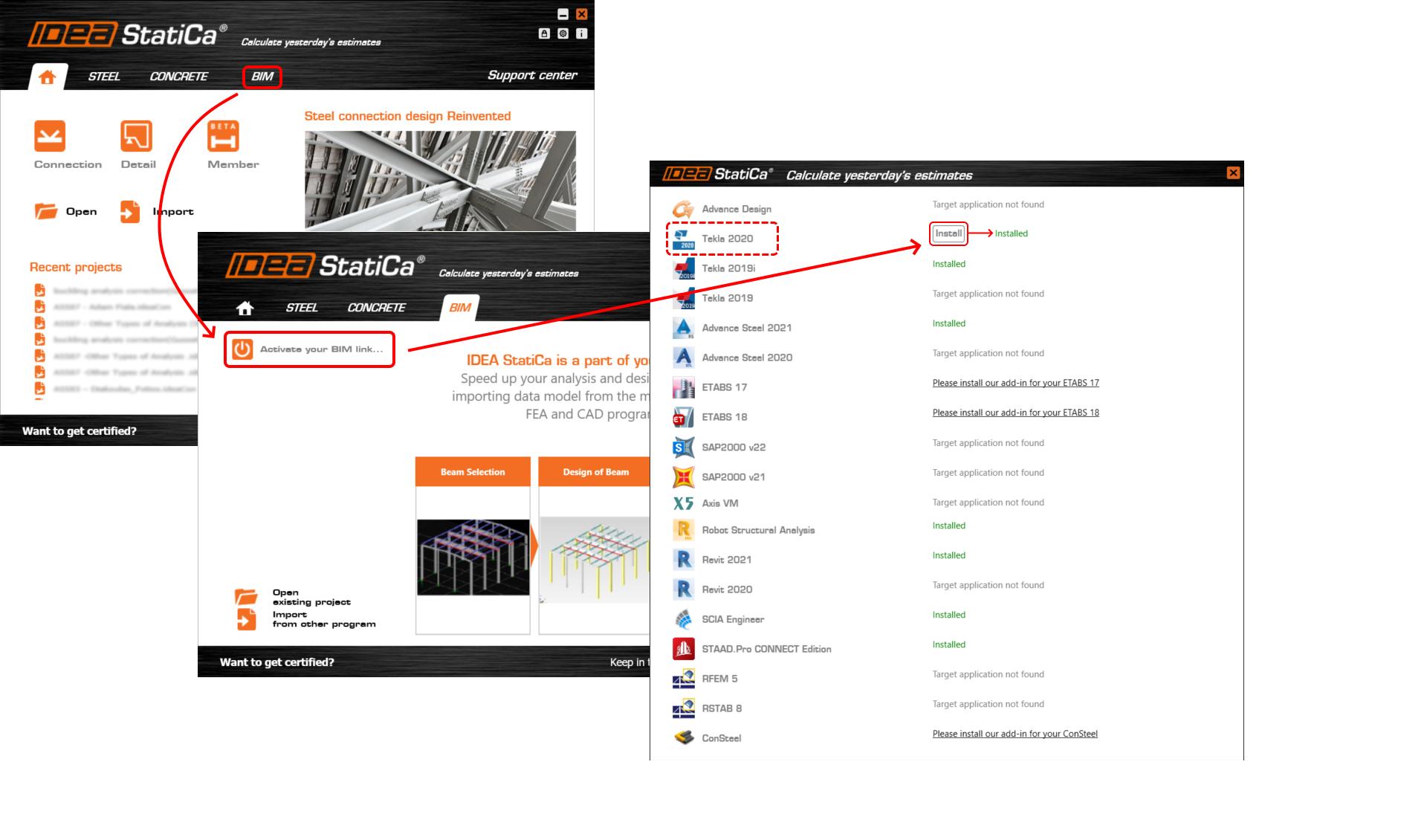 Installeren van de BIM link in IDEA CONNECTION