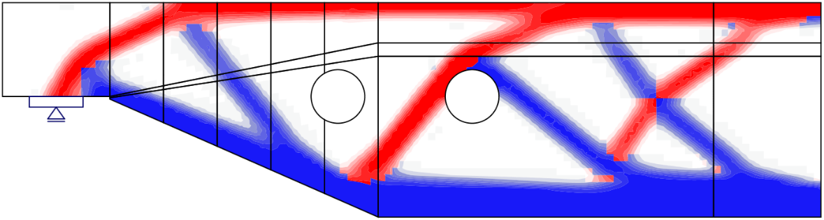 Fig. 7	Results from the topology optimization design tool with 20% and 40% effective volume (red: areas in compression, blue: areas in tension).