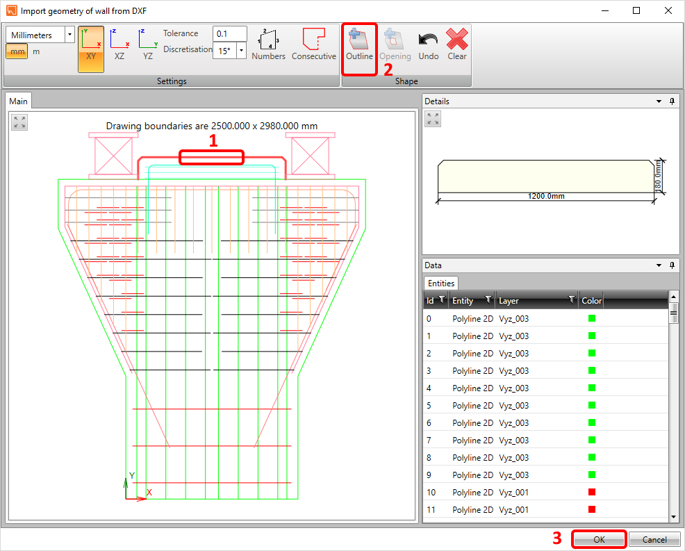 Pier cap from DXF - Import