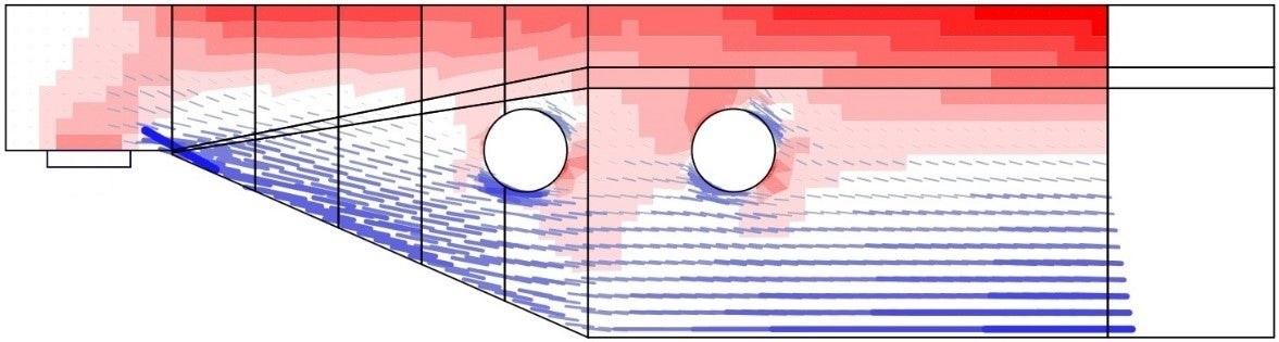 Fig. 6	Results from the linear analysis tool for defining reinforcement layout (red: areas in compression, blue: areas in tension).