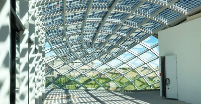 Glass roof topping, Amsterdam, Netherlands