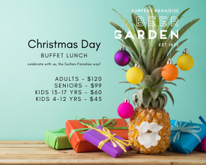 Christmas Buffet Lunch at Surfers Beer Garden