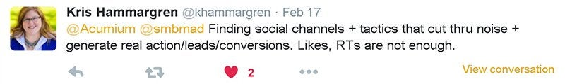 Kris Hammargren's tweet to the Acumium Twitter conversation