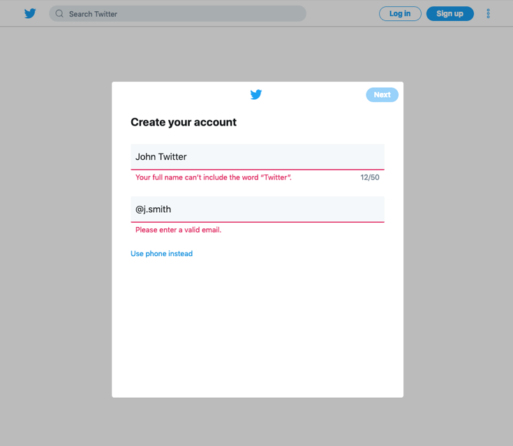 Twitter create an account page
