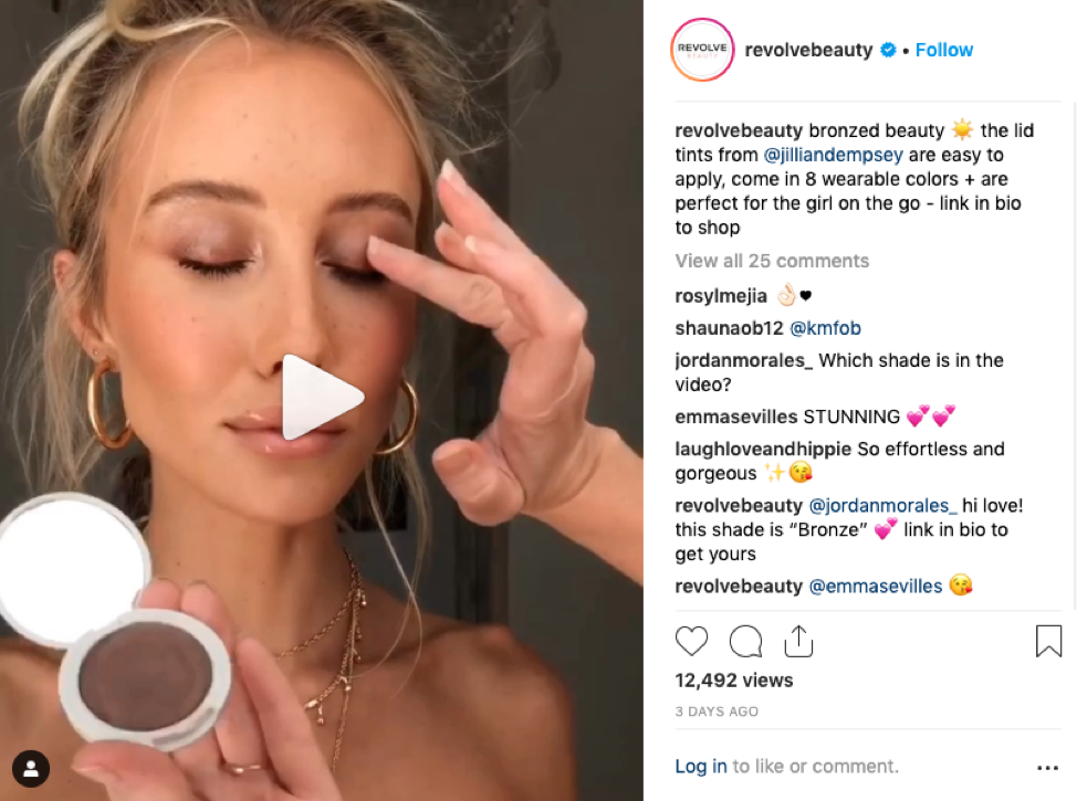 Instagram screenshot of Revolve Beauty