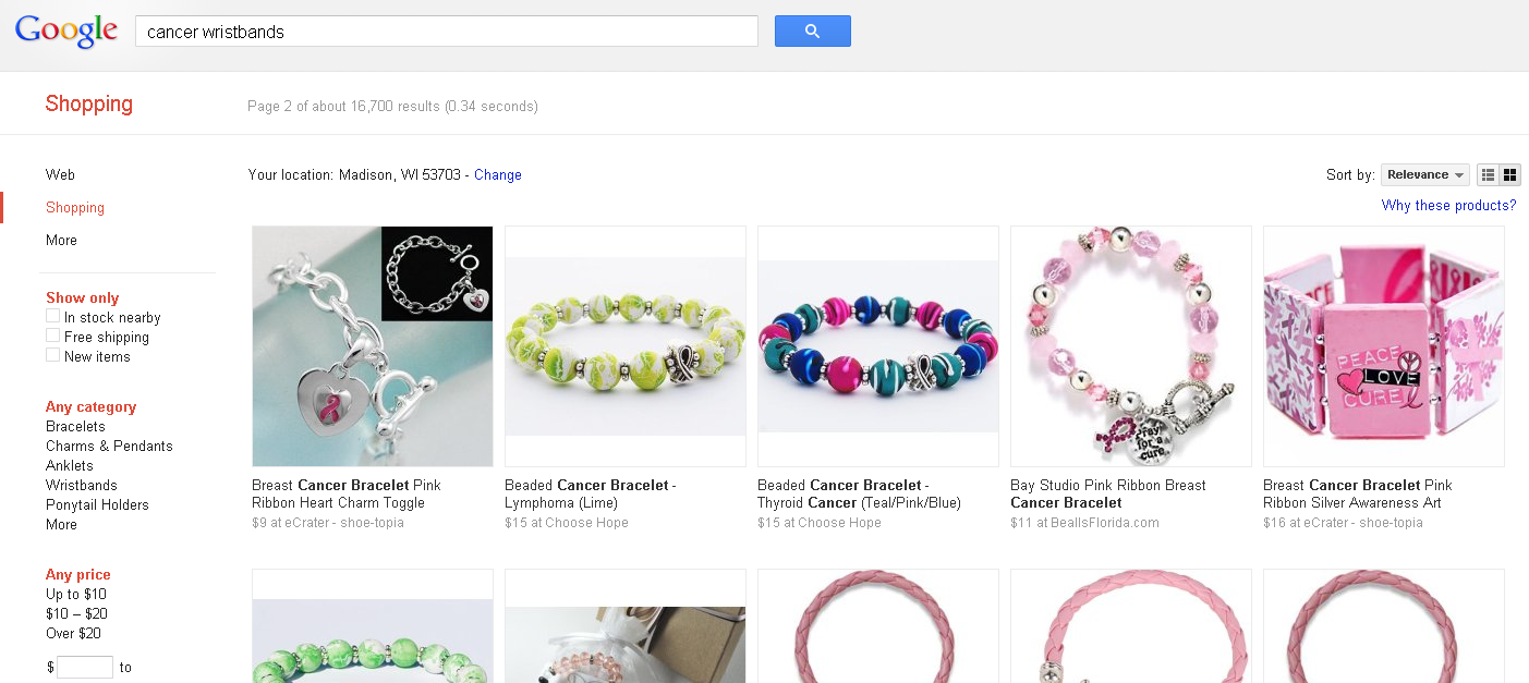 Google shopping feed image of bracelets