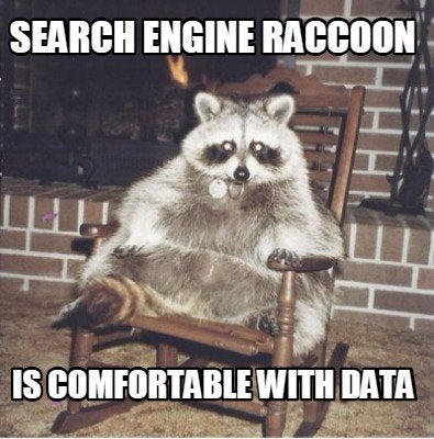 Meme of a fat raccoon sitting in a rocking chair  with white texted overlaid saying Search Engine Raccoon is Comfortable with Data