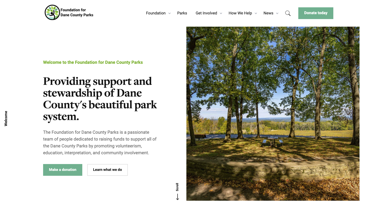 Homepage: Foundation for Dane County Parks website